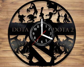DotA Vinyl Wall Clock Dota 2 Video Game Battle Arena Defense of the Ancients  Perfect Decorate Home UNIQUE GIFT idea for Him Her (12 inches)