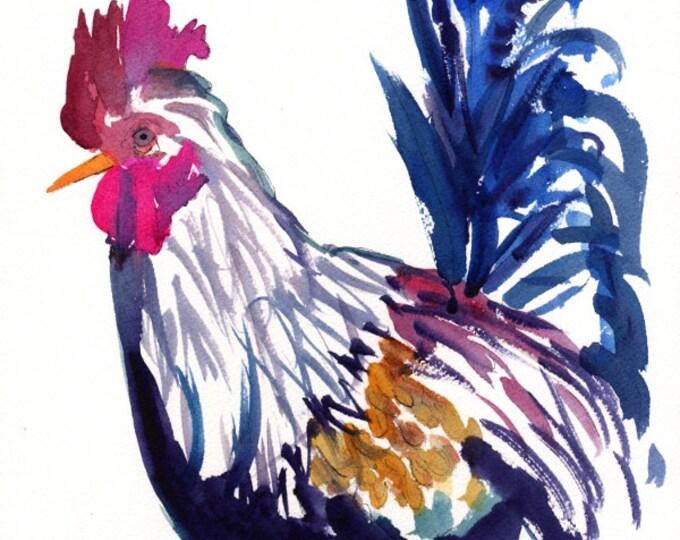 Kauai Rooster 5x7 art print - Kauai Chicken Art - Whimsical Rooster - Abstract Rooster Art - Kids Wall Art - Hawaii Giclee Print - Fowl art