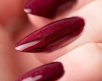 Nuka Cherry Nail Lacquer - Holographic Deep Cherry Red - Tips from the Wasteland - .45oz/13.2mL