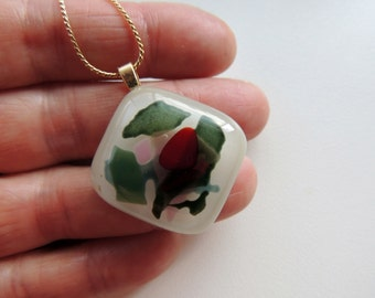 Fused glass necklace,fused glass pendant,glass jewelry,glass pendant,gift for her,green red necklace