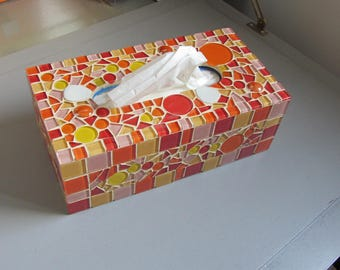 IN STOCK - Tissue box vétrocristal orange, yellow, red, pink and Japanese Glass pebbles