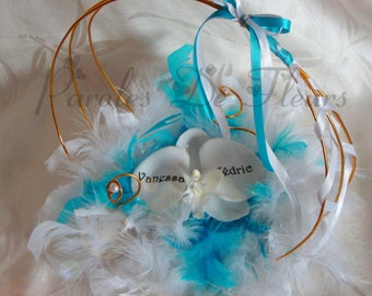 Gold, turquoise and white Orchid ring bearer artificial customize