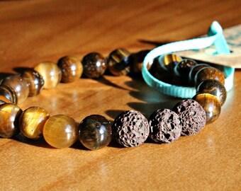 Tigers Eye & Lava Bead Essential Oil Diffuser Bracelet