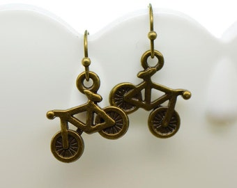 Bicycle Earrings, Antique Bronze Finish, Vintage Style Charm Pendant Earring, Jewelry (BA120)