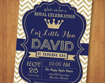 Prince Birthday Invitation. Royal Blue and Gold Birthday Invitation. Our Little Prince Gold Glitter Chevron. Boy Birthday. Printable Digital