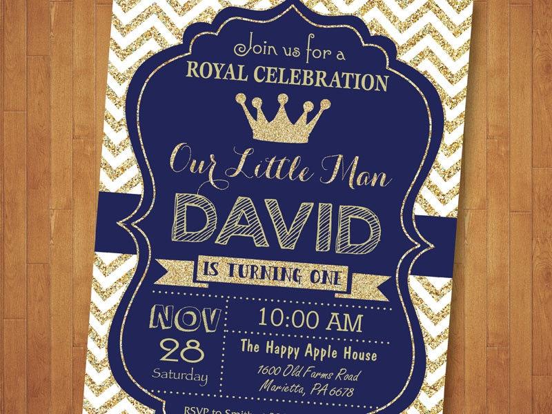 Prince Birthday Invitation. Royal Blue and Gold Birthday