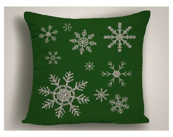 Green Christmas Throw Pillow with Silver Glitter Snow Flakes,  Christmas Pillow Covers, Holiday Pillows, Christmas Decorations