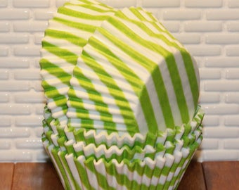 NEW - Lime Green Bar Stripe Cupcake Liners.  (Qty 45) Green Cupcake Liner, Green Baking Cups, Green Muffin Cups, Cupcake Liners, Baking Cups