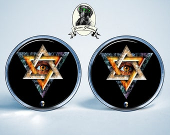 Mens earrings, Stud Earrings Kabbalah Judaica Jewelry, Hebrew jewelry, Jewish jewelry, Kabbalah jewelry, Serenity,mystic, esoteric, Judaism,