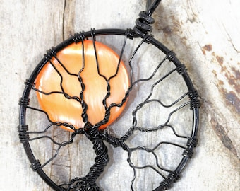 Halloween Full Moon Tree of Life Pendant Spooky Tree Wire Wrapped Jewelry Black Wire Orange Harvest Moon Necklace Gothic PhoenixFire Designs