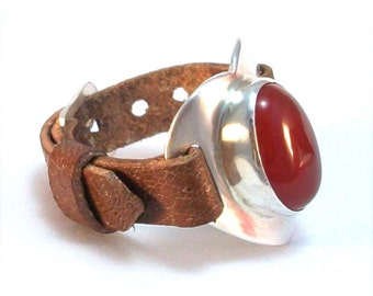 Adjustable Heart Ring, Sterling Silver and Carnelian Statement Ring, Romantic Jewellery