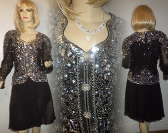 Vintage Sequin Dress RARE Oleg Cassini Black Tie 1970's Fully Embellished Silver Iridescent Sequins Designed Embellished Buttons Size 6