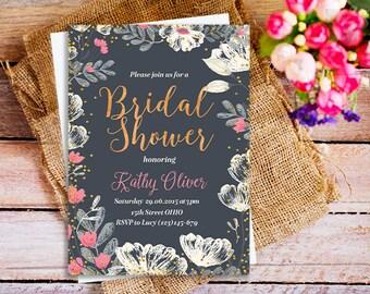 Rustic Garden Bridal shower invitation, modern Bridal Shower Invitation, white and pink baby shower, Floral wedding Shower Invitation,