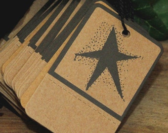 50 Primitive Black STAR Kraft Hang Tags , Perforated & Pre-Strung , Heavy Card Stock, Rustic Weddings, Favors, Gift Wrap
