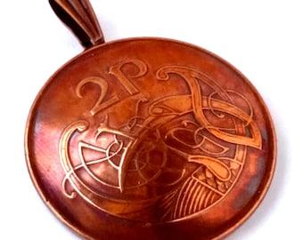 Irish Coin Jewelry,Irish Coin Necklace, Copper Jewelry,Ireland Coin Charm,Ireland Bird Charm,Celtic Bird Pendant,Book of Kells Bird Jewelry