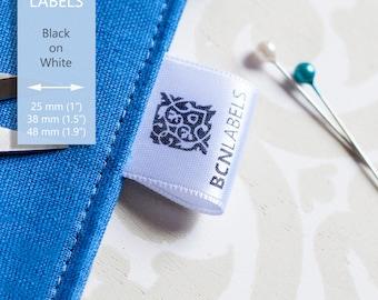 300 pcs Custom Soft White Satin Printed Labels - Custom Care Sew-in Labels