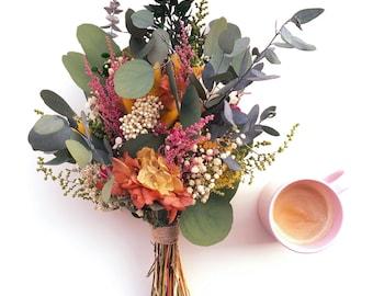 Ramo de flores preservadas eucalipto - flores multicolor - Wedding bouquet made with preserved flowers - Eucalyptus and wild flowers