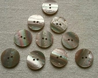 10 x Mother of Pearl Shell effect buttons 2-hole 23mm