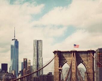 New York Sky - NYC photography, New York wall art, New York photograph, vintage photography, home decor