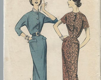 1950s VINTAGE ADVANCE PATTERN Misses dress. 8429 Size 1. Bust 34