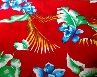 "Fabric yardage, tropical print, cotton blend, 1 1/2 yards, 44"" wide"