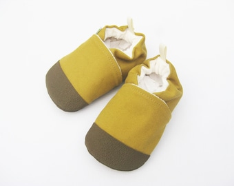 Organic Vegan Heavy Canvas Honey with Brown / non-slip soft sole baby shoes / made to order / Babies Toddler Preschool