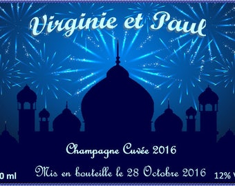 Reserved for FairePartEtTralala only - for wedding - 1001 nights champagne bottle label