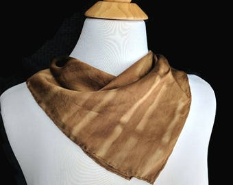 Black Walnut Naturally Dyed Silk Mini Bandana. Natural Dye Satin Hanky. Brown Shibori Silk bandana. Shibori scarf. Approx. 17x17 inch.