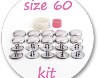 Size 60 Cover button kit: tool and 10 blank buttons ready to use