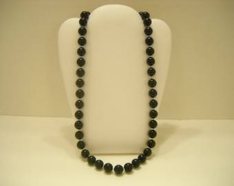 "Vintage 24"" Single Strand Black Necklace (961) 8mm"