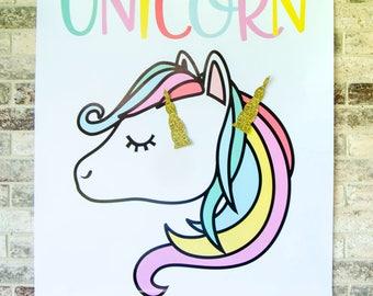 Pin The Horn On The Unicorn Game PRINTABLE (INSTANT DOWNLOAD) by Lindi Haws of Love The Day