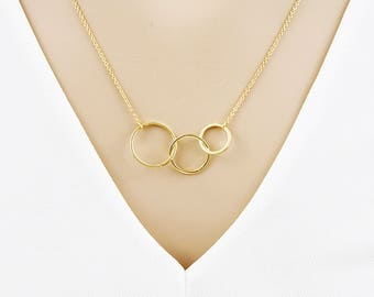 Triple Circle Necklace Infinity Necklace Bridesmaid Gifts for her  Birthday Gift