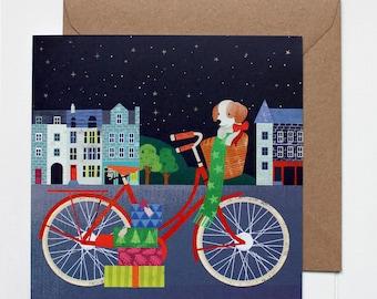 Red Bike In Edinburgh Christmas Cards