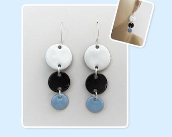 White, Black and Sky Blue Circle Geometric Enamel Sterling Silver Long Earrings