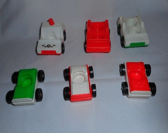 6 Vintage Little People Cars Fisher Price Pretend Toy