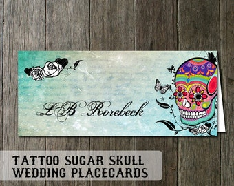 Skull Wedding Placecards    Sugar Skull Design for the Dia De Los Muertes wedding   Digital Printable   Printable Plcaecards