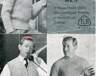 Men's Waistcoat and Sweaters DK 38-42ins Patons 386 Vintage Knitting Pattern PDF instant download