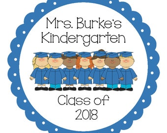 24 STICKERS, Kindergarten Graduation, Kinder Grad, Class of 2018, School Colors, Graduation Stickers, Graduation Party Favors (482)