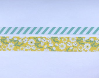 "Skinny Stripes (10mm) and Wide Yellow Floral (20mm) Washi Tape 24"" Sample Set - Bobbins"
