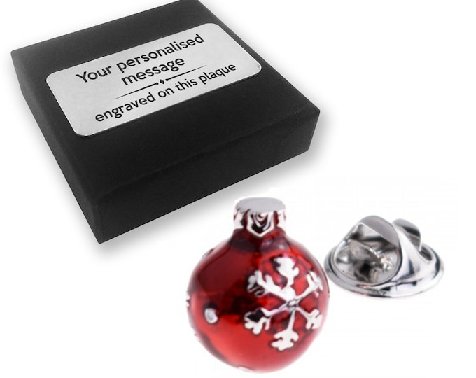 Christmas, bauble, xmas, lapel pin badge, tie pin, brooch accessory, boutonniere - personalised engraved gift box - 828