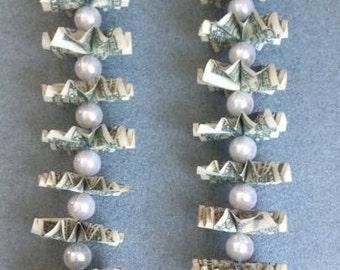 Money Lei- Thirty dollars worth in dollar bills- bead colors vary