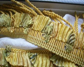Very RARE 1 yd. antique french ribbonwork fringe 1920s  Yardage