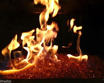 "10 LBS Pounds Fireglass 1/4"" Champagne Fire Glass - Tempered Glass for Fireplace & Firepit"