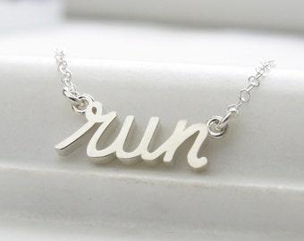 Gift For Runner • Word Charm • Run Charm • Run Necklace • Marathon Jewelry • Necklace For Runner • Gift for Her • Handwriting • R02