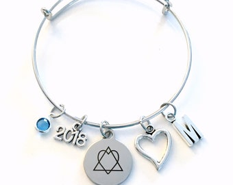 Adoption Day Bracelet, Gotcha 2018 Gift for New Mom Parent Jewelry Adopt Symbol Charm Bangle Silver initial Birthstone Birthday Present 2019