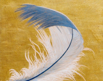 Freeom Feather - Art Print, Original Painting, Acrylic - by XIXIARTS