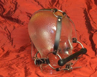 Leather head harness, bridle, red-black, gag