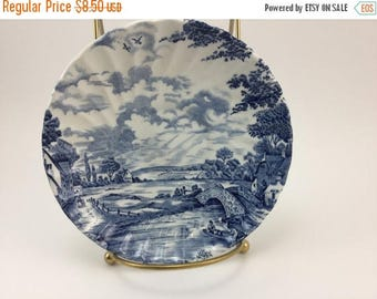 Sale Vintage Made in Staffordshire England Ironstone Blue Brook Saucer Plate Ring Dish Jewelry Holder Trinket Dish Ring Holder
