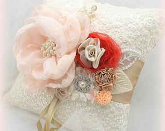 Ring Bearer Pillow, Ivory, Champagne, Tan, Beige, Peach, Coral, Vintage Style, Elegant Wedding, Bridal, Lace, Pearls, Crystals