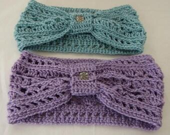 Crocheted Head Band Acrylic Yarn Thistle or Aqua, Silver Button